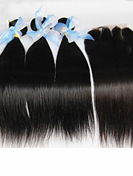 4Pcs Lot Peruvian Straight Virgin Hair With Closure 3Bundles Unprocessed Peruvian Human Hair Weave With 1pc Lace Closure