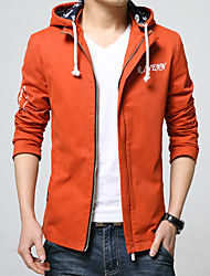Men's Long Sleeve Casual / Sport Jacket,Cotton Solid Black / Blue / Orange / Red / Yellow