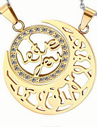 Couple's Sun & Moon Gold Stainless Steel Necklace