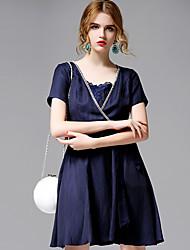 AFOLD® Women's V Neck Short Sleeve Knee-length Dress-5656