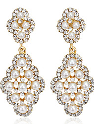 Gold Pearl Exqusite Quality Silver AAA Zircon Crystal Drop Earrings for Lady Wedding Party