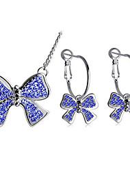 Schmuckset Halskette / Ohrringe Modisch Doppelschicht Strass Aleación Schleifenform Dunkelblau Purpur Halsketten Ohrringe FürAlltag