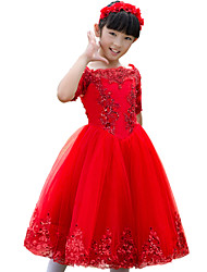 Ball Gown Tea-length Flower Girl Dress - Tulle Half Sleeve Bateau with Appliques / Sequins