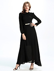 Women's Casual/Daily / Party/Cocktail Simple A Line / Chiffon Dress,Solid Stand Maxi Long Sleeve Black Polyester
