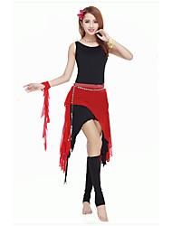 Dança do Ventre Roupa Mulheres Actuação Elastano Pano 1 Peça Sem Mangas Natural Malha Collant 80cm