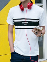 Men's Short Sleeve T-Shirt,Cotton Casual Striped