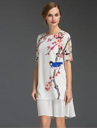Damen Lose Kleid-Ausgehen Anspruchsvoll Blumen Rundhalsausschnitt Übers Knie Kurzarm Weiß Polyester Sommer Mittlere Hüfthöhe