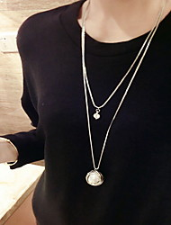 White Pearl Double Chain Layered Necklace
