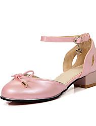 Damen-Sandalen-Kleid / Lässig-PU-Blockabsatz-Komfort / Mary Jane-Schwarz / Rosa / Rot / Weiß