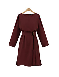 Women's Casual/Daily Vintage Loose Dress,Solid Round Neck Knee-length Long Sleeve Red / Black Polyester Summer