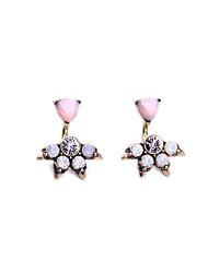 European Style Luxury Gem Geometric Earrrings Tree Shape Stud Earrings for Women Fashion Jewelry Best Gift