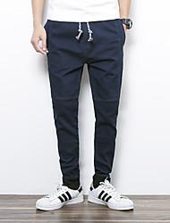Homme Punk & Gothic Taille Normale Micro-élastique Jeans Pantalon,Mince Slim Couleur Pleine