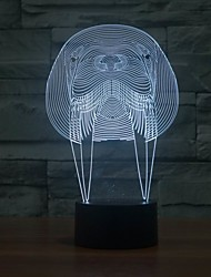 Amazing 3D Illusion Led Table Lamp Night Light With Animal Walrus Shape Color-Changing Night Light