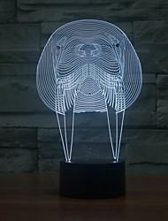 incrível ilusão de mesa levou luz lâmpada noite 3d com forma de animal walrus luz que muda de cor à noite