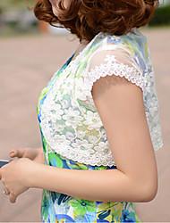 Damen Mantel / Capes-Lässig/Alltäglich Einfach Blumen Weiß Kurzarm Leinen Transparent