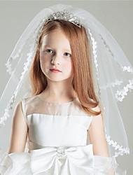 Wedding Veil Two-tier Shoulder Veils Ribbon Edge Tulle