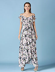 Women's Beach Boho Chiffon / Swing Dress,Floral Strap Maxi Sleeveless White Cotton / Polyester All Seasons