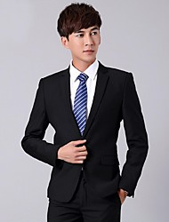 Suits Standard Fit Notch Single Breasted One-button Wool Solid 2 Pieces Black Straight Flapped None (Flat Front) Black None (Flat Front)