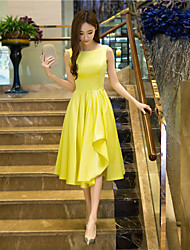 Cocktail Party Dress A-line Jewel Tea-length Satin with Draping