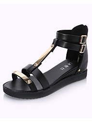 Women's Summer Platform PU Casual Flat Heel Black