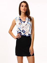Women's Print Blue/Pink Dress, Casual/Print/Work Cowl Sleeveless