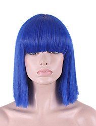 Best-selling Europe And The United States COS Wig Blue Neat Bang BOBO Wig 12 Inch