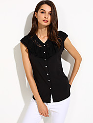 Women's Lace Casual/Daily/Plus Size Simple Summer Blouse,Solid V Neck Sleeveless White/Black Medium