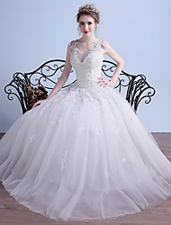 Ball Gown Wedding Dress Simply Sublime Floor-length V-neck Tulle with Appliques Beading