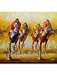 Pintada a mano Personas Modern / Clásico / Tradicional / Realismo / Mediterráneo / Pastoral / Estilo europeo,Un Panel LienzosPintura al