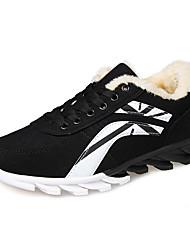 sapatos masculinos camurça / tule ocasional sapatilhas da forma ocasional que anda outros salto planas preto / azul / vermelho