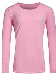 Damen Solide Street Schick Lässig/Alltäglich T-shirt,Rundhalsausschnitt Herbst Langarm Rosa Baumwolle Mittel