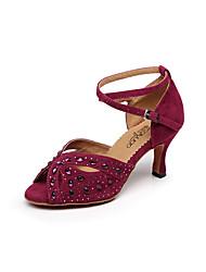 Women's Dance Shoes Suede Suede Latin / Salsa Sandals Stiletto Heel Professional / Indoor Black / Blue / Green / Red