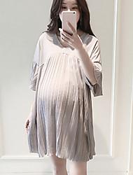Vestido de maternidad Sobre la rodilla Frunce-Poliéster-Escote en Pico Manga Corta