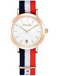 Mulheres Relógio de Moda Quartz Impermeável Tecido Banda Cores Múltiplas marca