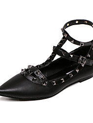 Women's Shoes PU Spring / Summer / Fall Pointed Toe Flats Outdoor Flat Heel Rivet Black / Pink / Purple / Red / White
