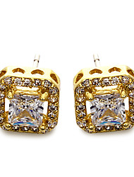 Stud Earrings Cubic Zirconia Copper Platinum Plated Gold Plated Simple Style Fashion Square Gold White Jewelry Wedding Party Daily Casual