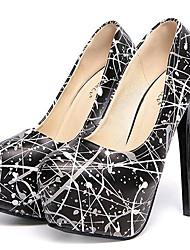 Women's Shoes Leatherette Stiletto Heel Heels Heels Party & Evening Black / White