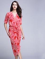 BOMOVO® Damen V-Ausschnitt 1/2 Ärmel Wadenlänge Kleid-B16XQ1S