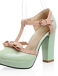 Women's Spring Summer Fall Leatherette Wedding Casual Party & Evening Dress Chunky Heel Green Purple Almond