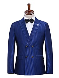 Suits Slim Fit Notch Double Breasted Two-buttons Polyester/RayonStripes 2 Pieces Blue Straight Flapped