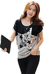 Women's Casual/Daily Simple / Boho Summer T-shirt,Patchwork Round Neck Short Sleeve Black Rayon Thin