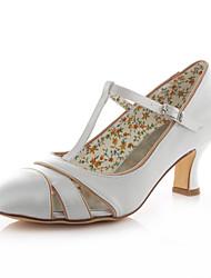 Women's Shoes Stretch Satin Spring / Fall Heels / Round Toe Heels Wedding /  Dress Chunky HeelCrystal / Split