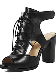 Women's Sandals Summer Heels / Slingback / Gladiator PU Casual Chunky Heel Lace-up Black / Beige