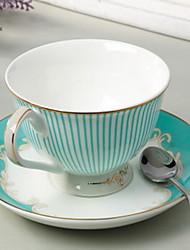 Stripe Coffee Mug Dish Spoon Set