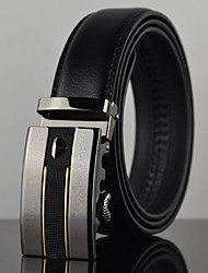 Men Simple Fashion Business Automatic Buckle Leather Wide Belt,Work / Casual Black