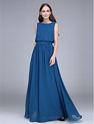 Lanting Bride® Floor-length Chiffon Bridesmaid Dress - Sheath / Column Jewel with Sash / Ribbon