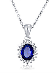 Fashion Personalized Gift  Blue 925 Sterling Silver CZ Stone Women Necklaces & Pendants