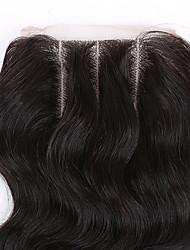 10-24 Inch # 1 B Glueless Ondulation naturelle Cheveux humains Fermeture Marron clair / Brun roux / Marron foncé Dentelle Suisse 45 gramme
