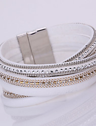 Bracelet Chaînes & Bracelets Bracelets Bracelets en cuir Loom Bracelet Alliage Cuir Strass Forme Géométrique Mode Bohemia styleQuotidien