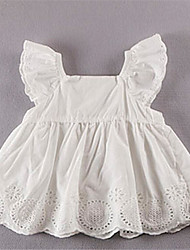 Girl's Casual/Daily Solid Dress,Cotton Summer White / Yellow